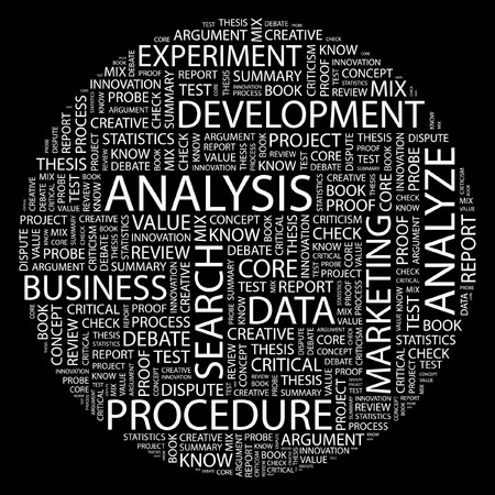 ANALYSIS. Word collage on black background. Stock Vector - 7031326
