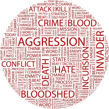 bloodshed: AGGRESSION. Word collage on white background.
