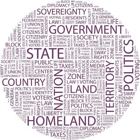 citizenry: ESTADO. Palabra collage sobre fondo blanco.