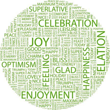 elation: JOY. Word collage on white background. Illustration