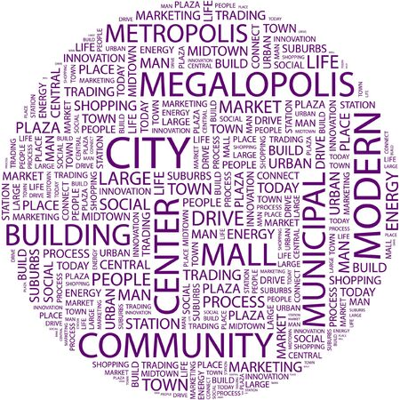 CITY. Word collage on white background.  Vector