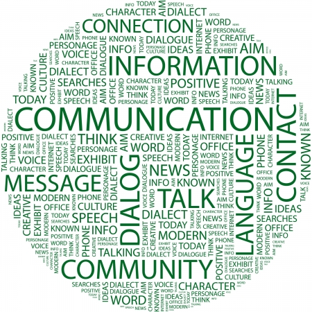 advisement: COMMUNICATION. Word collage on white background. Vector illustration.