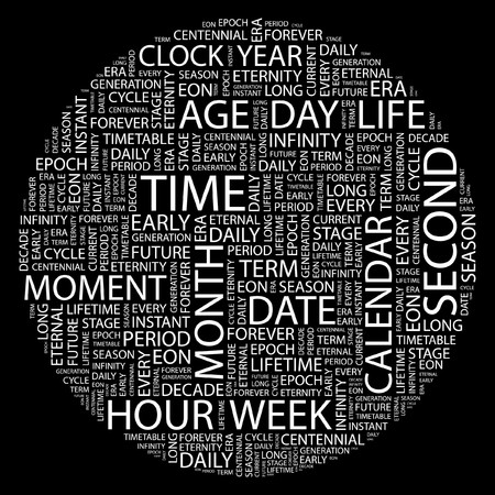 TIME. Word collage on black background. Stock Vector - 7031209