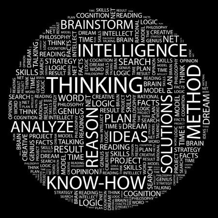 rational: THINKING. Word collage on black background.  Illustration