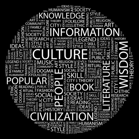 social history: CULTURE. Word collage on black background.