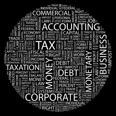 debt collection: TAX. Word collage on black background.