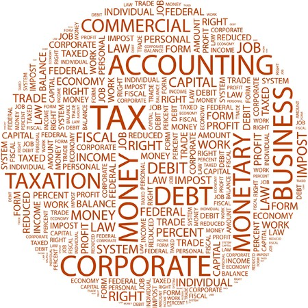 debt collection: TAX. Word collage on white background.