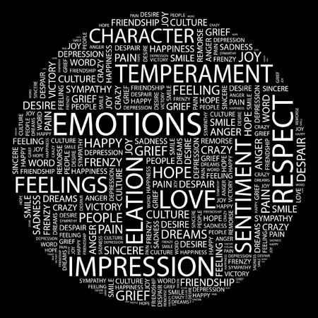 commotion: EMOTIONS. Word collage on black background.  Illustration