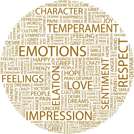 endearment: EMOTIONS. Word collage on white background.  Illustration