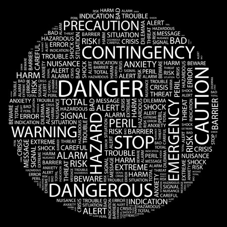 DANGER. Word collage on black background.  Stock Vector - 7031974