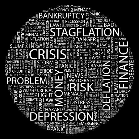 plight: CRISIS. Word collage on black background.