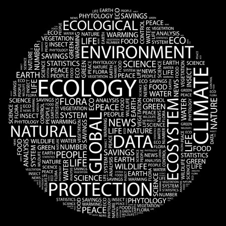 ECOLOGY. Word collage on black background.  Stock Vector - 7031461