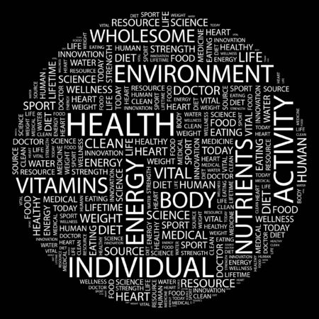 HEALTH. Word collage on black background. Stock Vector - 7031401