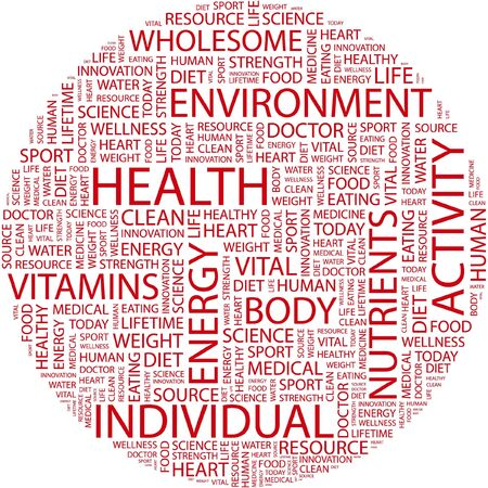 HEALTH. Word collage on white background.  Vector