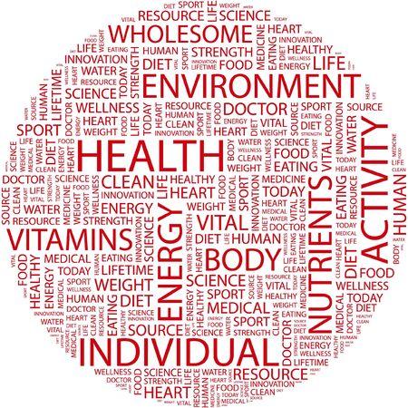 optimum: HEALTH. Word collage on white background.