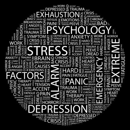 ストレス。黒の背景上のコラージュを単語します。