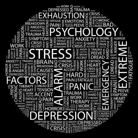 causes: STRESS. Word collage on black background.