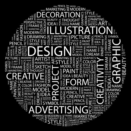 creative target: DESIGN. Word collage on black background.