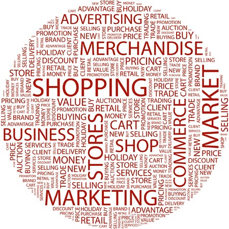 SHOPPING. Word collage on white background.  Vector