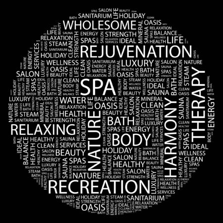 steam bath: SPA. Word collage on black background.