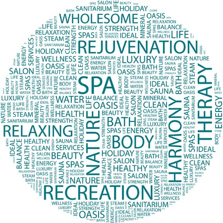 SPA. Word collage on white background.  Illustration