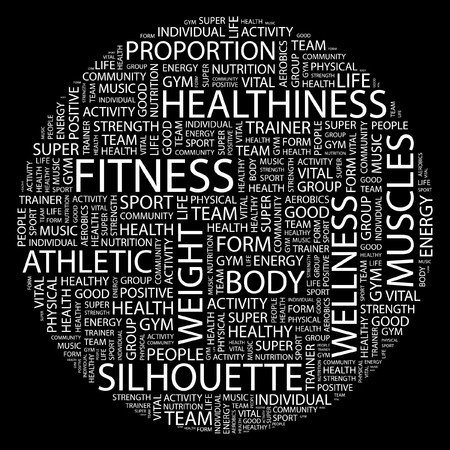 FITNESS. Word collage on black background. Vector illustration.    Stock Vector - 7031399