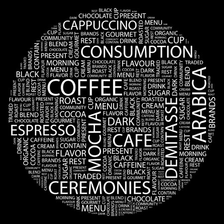 demitasse: COFFEE. Word collage on black background.