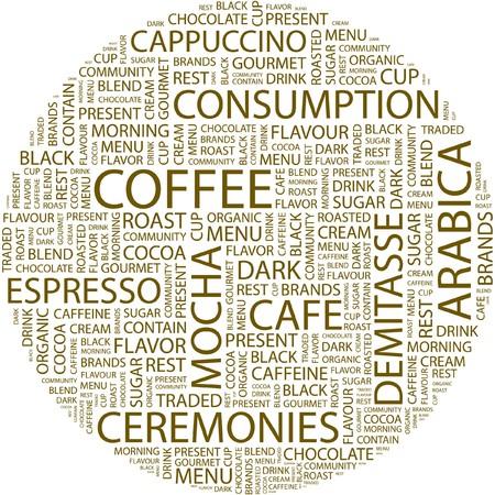 demitasse: CAFF�. Parola di collage su sfondo bianco.  Vettoriali