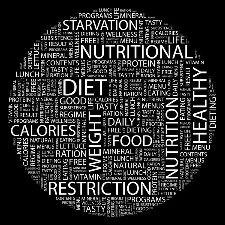 starvation: DIET. Word collage on black background.  Illustration