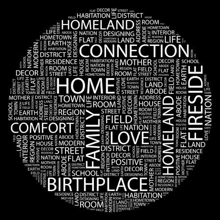 birthplace: HOME. Word collage on black background.