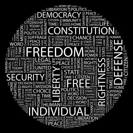 constitucion: LIBERTAD. Palabra collage sobre fondo negro.  Vectores