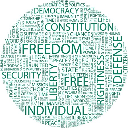 rightness: FREEDOM. Word collage on white background.