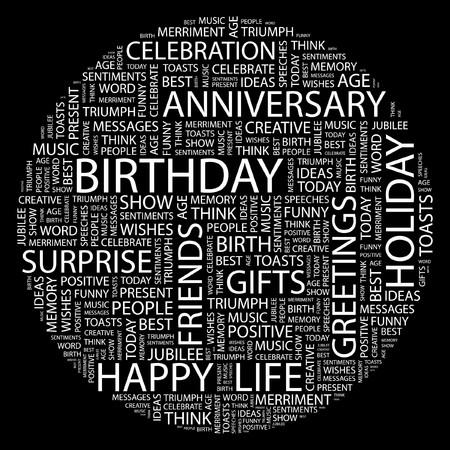 BIRTHDAY. Word collage on black background. Illustration