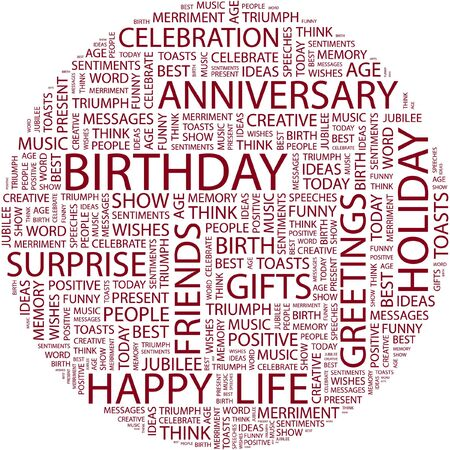 best wishes: BIRTHDAY. Word collage on white background.