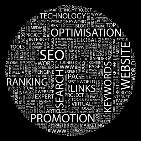 optimized: SEO. Word collage on black background.
