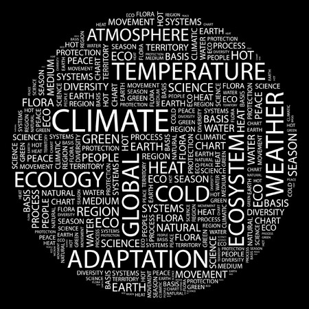 CLIMATE. Word collage on black background. Stock Vector - 7031600