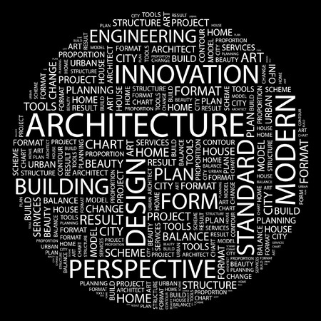 advertising construction: ARCHITECTURE. Word collage on black background. Illustration