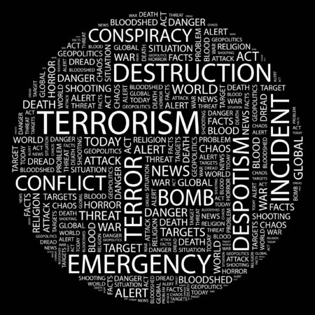 patriot act: TERRORISM. Word collage on black background.  Illustration