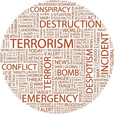 patriot act: TERRORISM. Word collage on white background. Illustration