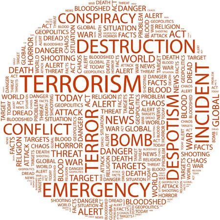 bloodshed: TERRORISMO. Palabra collage sobre fondo blanco.