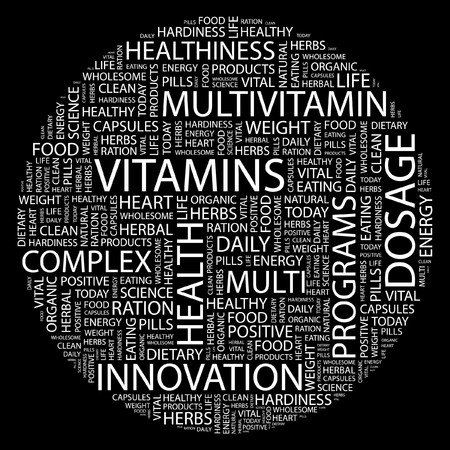 VITAMINS. Word collage on black background. Stock Vector - 7031459