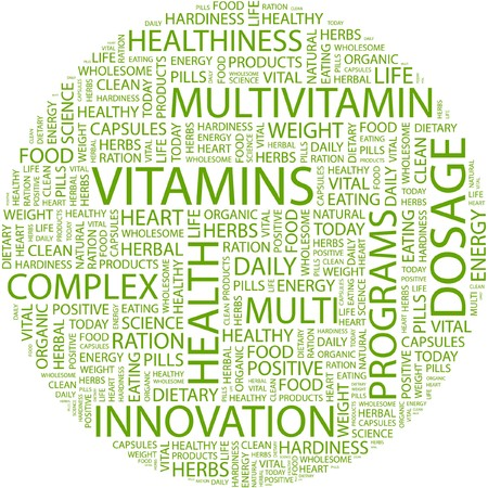 VITAMINS. Word collage on white background. Stock Vector - 7031454