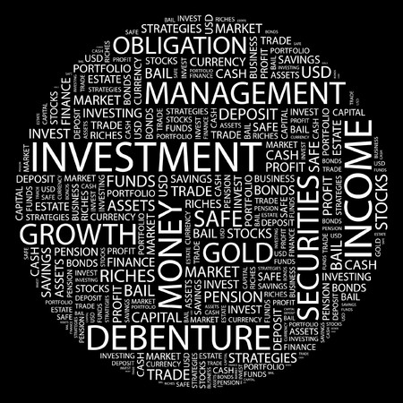 INVESTMENT. Word collage on black background.  Stock Vector - 7031583