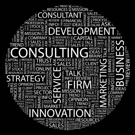 firms: CONSULTING. Word collage on black background.  Illustration