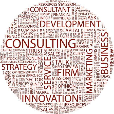 financial consultant: CONSULTING. Word collage on white background.
