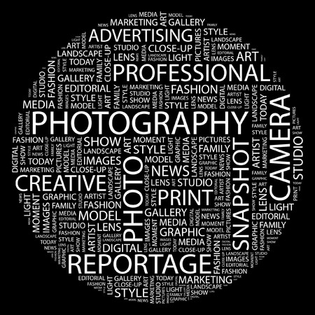 PHOTOGRAPHY. Word collage on black background. Vector