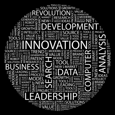 organizational: INNOVATION. Word collage on black background.  Illustration