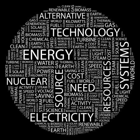 ENERGY. Word collage on black background.