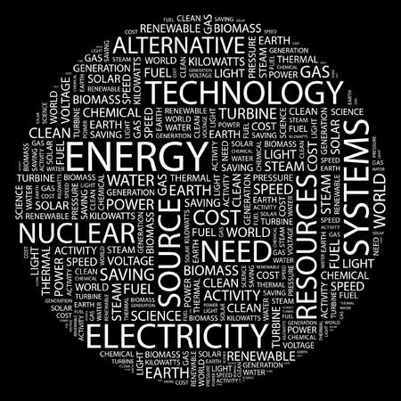 steam turbine: ENERGY. Word collage on black background.