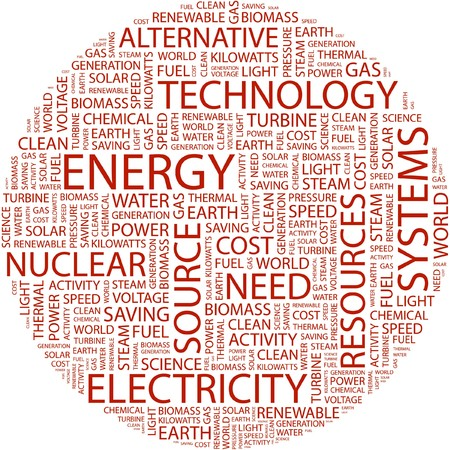kilowatts: ENERGY. Word collage on white background.